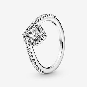Pandora Square Sparkle Wishbone Ring